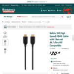 Belkin 5m 4k HDMI Cable $20.19 (Was $38) @ Bunnings