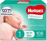 Huggies Newborn Nappies Size 1 (up to 5kg) 108 Count - $25.00 ($21.25 S&S) + Delivery ($0 with Prime / $39 Spend) @ Amazon AU