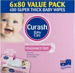 [Prime] Curash Fragrance Free Baby Wipes 6x80 Pack for $11.86 ($10.67 S&S) + Delivery ($0 with Prime/ $39 Spend) @ Amazon AU