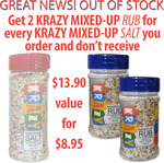 KRAZY Mixed-up Salt 200g or 2x KRAZY Rub 170g $8.95 (Was $13.90) + $12.50 Postage @ Brunt