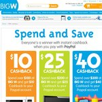 Up to $40 Cashback from BigW Online When Paying Via PayPal