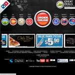 Domino's Triple Plus Deal 3 Chefs Best OR Traditional Pizzas + Garlic Bread + Coke $19.95 Pickup