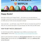 Getflix 40% Discount off RRP (Easter Special) or 49% Discount off RRP with Facebook like