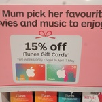 iTunes Gift Card 15% off in Store @ Australia Post
