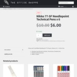 Nikko 77-SF Needlepoint Pens 0.2mm X 6 (3 Blue/3 Red) - $6 + Free Delivery - The Office Shoppe
