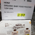 Heinz Organic Baby Food Pouches 12pk for $2.97@ Costco Dockland VIC (Membership Required)