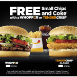 FREE Small Chips and Coke with Whopper, Veggie Whopper or Tendercrisp Purchase at Hungry Jack's (Excludes TAS)