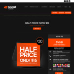 Boost Mobile $30 Prepaid SIM for $15 + 15GB Bonus Data for First 5 Recharges