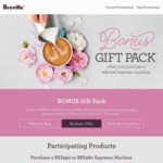 Bonus Gift Pack Worth up to $160 with Purchase of Selected Breville Espresso Machine from Participating Retailers @ Breville