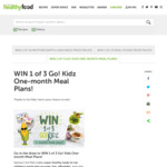 [NSW] Win 1 of 3 Go! Kidz One-Month Meal Plans Worth $180 Each from Healthy Food Guide