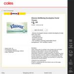 Kleenex Facial Tissue - 3 Ply (Wellbeing Aloe Vera & Vitamin E / Eucalyptus) 95 Sheets Per Box - $1.30 Per Box @ Coles