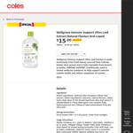 Wellgrove Immune Support Olive Leaf Extract Oral Liquid $15 (RRP $30) @ Coles