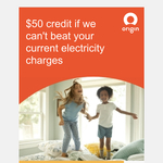 $50 Credit if Origin Energy Can't Beat Your Current Electricity Charges (for Origin Gas Customers)