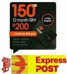 [eBay Plus] Boost $200 Pre-Paid SIM Starter Kit 365 Days with 150GB Data $156.38 Shipped @ Jackey Phone Card eBay