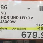 "Samsung 55"" 4K HDR UHD LED TV UA55TU8000W $679.99 @ Costco (Membership Required)"