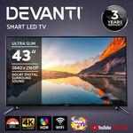 "Devanti Smart LED TV 43"" 4K UHD $276.76 ($269.84 eBay Plus) + Delivery @ Ozplaza.living eBay"