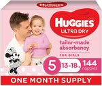 [Prime] Huggies Ultra Dry Nappies Size 3/4/5/6 Girls/Boys 1 Month Pack $50 ($41.56-$42.50 S&S) Delivered @ Amazon AU