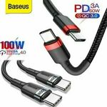 Baseus 60W/100W Type C to USB C Quick Charging Cables from $5.03 Delivered ($4.92 with eBay Plus) @ baseus_online_store eBay