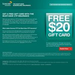$20 Gift Card FREE! Just Change CTP Insurer to Suncorp [QLD]