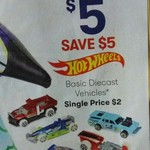Hot Wheels Basic Diecast Cars 5 for $5 @ Big W