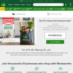 10% off Your First Business Shop with Woolworths Online ($200 Minimum Spend, ABN Required)