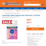 Curash Baby Wipes 3x80pk $6.99 ($2.33 per 80pk) @ Good Price Pharmacy (Free Shipping for $20+ Orders that Include Vitamins)