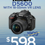 [NSW] In Store Only: Nikon D5600 w/ 18-55mm VR Lens $698 (+ $100 Cash Back) @ Camera House (Hornsby, Broadway and Top Ryde)