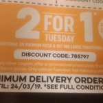 Buy One Premium/Traditional Pizza & Get One Traditional/Value Pizza Free @ Domino's (Tuesdays)