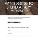 Win 1 of 2 APM Monaco Vouchers Worth $100 Each [QLD Residents - Winners to Collect Prizes from Macarthur Central]