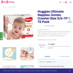 Huggies Ultimate Nappies Jumbo Crawler Size 3 (6-11kg) 72 Pack $22.95 @ Baby Bunting