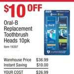 Oral-B Replacement Heads 10 Pack (8x Precision Clean + 2x Cross Action) $26.99 @ Costco (Membership Required)