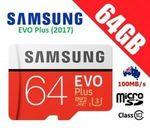 Samsung EVO Plus MicroSD 64GB - Any 2 for $15.92 + Delivery ($0 with eBay Plus) @ Apus eBay