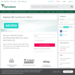 TopCashBack UK £32.50 (~ $62) Cashback for Transferring £150 with Azimo (Must Read T&S)