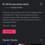 $1.49 Movie Rental @ Google Play
