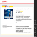 Oral-B Pro 100 Crossaction Electric Toothbrush - Black $35 (Usually $70) @ Coles