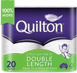 Quilton 3 Ply Double Length Toilet Tissue 20 Pack (360 Sheets/Roll) $20.50/$18.45 (S&S) + Delivery ($0 Prime/ $39+) @ Amazon AU
