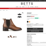 ZIGGY Tan Leather Ankle Boots $79.99 Delivered @ Betts