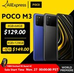 Xiaomi Poco M3 Snapdragon 662, Dual Sim, 4GB, 64GB, US$130.90 (~A$178) Shipped @ POCO Store AliExpress