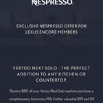Nespresso Vertuo Next Deluxe Solo Dark Chrome and Free Frother + 50 Coffee Pods $216 via Lexus App (Encore Membership Required)