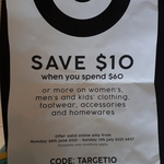 $10 off $60 Spend on Clothing, Footwear, Accessories and Homewares @ Target Online