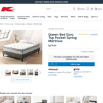 Queen Bed Euro Top Pocket Spring Mattress $279 + Delivery @ Kmart