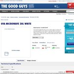 GVA MICROWAVE 20L WHITE $47 (PICK UP) or $49 Delivered @ Goodguys BargainBuy