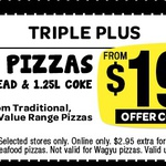 Domino's - Any 3 Pizzas + Garlic Bread + 1.25lt Coke $19.95 Pick up until 13 March