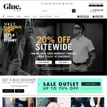 GLUE STORE: 20% OFF, Incl. Sale Items Already up to 50% off. Free Shipping on Orders > $75