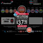 Domino's - Any 3 Pizzas + Garlic Bread & 1.25L Drink $25 Delivered
