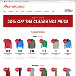 Macpac 20% off Clearance Items Online & in-Store & Free Shipping with $100 Spend