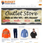 60% off All Items at Budget Workwear Outlet Store, Flat Rate Shipping of $5.50