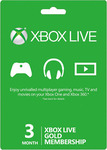 2x Xbox Live Gold 3 Month Subscriptions - $34 + $3.50 Post ($6.25/Month) @ EB Games