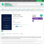 A Higher Loyalty by James Comey - Hardback Preorder $2.95 Angus & Robertson