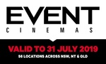 Event Cinemas General Entry Movie Ticket $13.50 (Valid to 31st July 2019) @ Groupon
